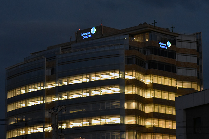 Johnson Controls Exterior Dusk Signage Channel Letters by TISA